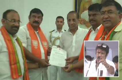 bjp Leaders Complaint to Governor Narasimhan over balakrishna comments - Sakshi
