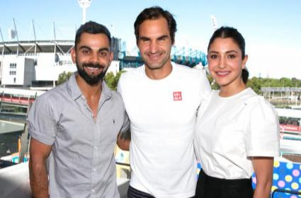 Australian Open Trolled Over Federer and Virushka Photo Caption - Sakshi