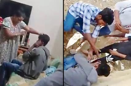 Woman Attack on Man in Chittoor Video Viral In Social Media - Sakshi