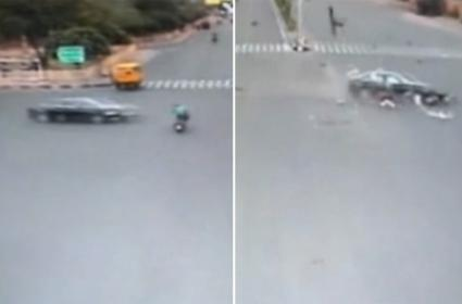 Man Flung 30 Feet As Speeding Audi Rams Bike At Intersection In Jaipur - Sakshi