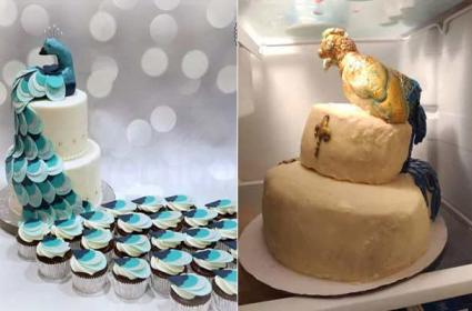 Bride Shocked By Peacock Cake Looked Like Lopsided Turkey - Sakshi