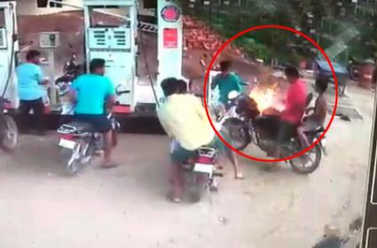 Fire From Bike In Petrol Bunk At Sattenapalli - Sakshi