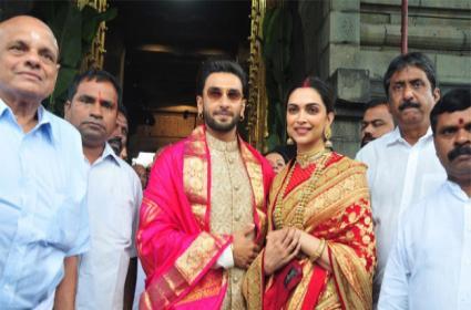 Deepika Padukone, Ranveer Singh Visit Tirumala Temple - Sakshi