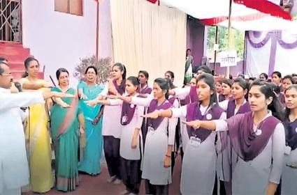 College Students Girls Pledge on Against Valentines Day - Sakshi