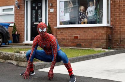 Men Dress Up As Superhero To Cheer Kids Amid Lockdown - Sakshi