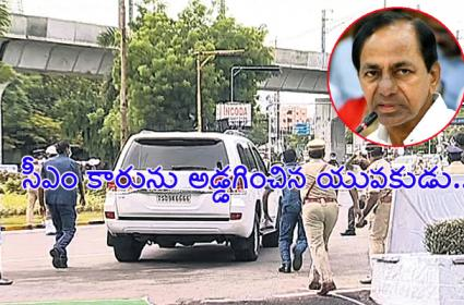 GHMC Employee Stops CM KCR Canvay in Telangana Formation Celebrations - Sakshi