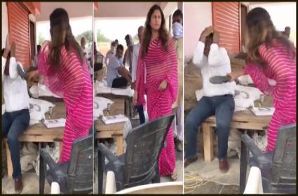 Tiktok Star Sonali Phogat Slaps a Man With Chappal In Haryana - Sakshi