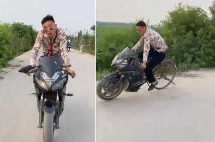 Viral Video: Man Rides Low Budget Bike - Sakshi