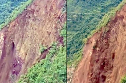 Viral Video Of Road Collapse After Landslide In Himachal Pradesh - Sakshi