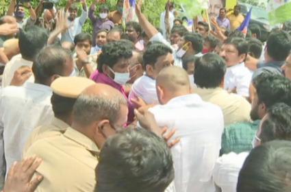 Tension Created Near Chandrababu House After Jogi Ramesh Protest Guntur - Sakshi