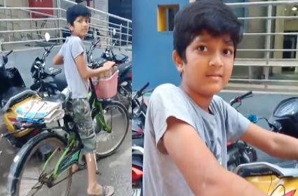 KTR Tweets Karimnagar Jagtial Child Paper Boy Video Goes Viral - Sakshi
