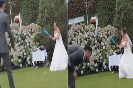 Bride Hits Bride Groom Accidently With Rounders Ball England Goes Viral - Sakshi