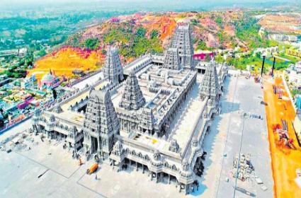 Yadagirigutta Temple New Look Like Tirumala Tirupati Temple - Sakshi