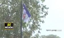 YS Jagan, YSRCP flag aviation in Kallamadi - Sakshi