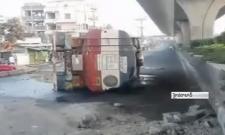 Fuel tanker loses control, overturns near Hyderabad - Sakshi