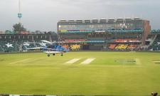 Helicopters deployed in Lahore to dry outfield before Peshawar Zalmi vs Karachi Kings match - Sakshi