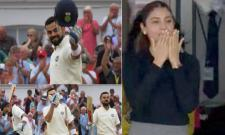 Virat Kohli flying kiss to His Wife Anushka Sharma For The Century - Sakshi