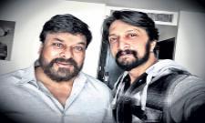 Sudeep selfie with mega star chiranjeevi in sye raa shooting - Sakshi