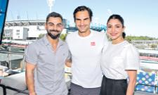 Virat Kohli, Anushka Sharma meet Roger Federer - Sakshi