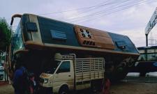 Volvo Bus From Vizag To Bangalore Fell On TATA ACE At Renigunta