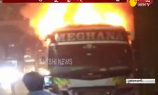 Private bus catches fire in Kukatpally