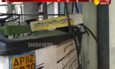 RTC bus hits metro wall in ameerpet