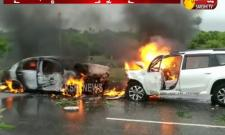 Two Cars Catches Fire in Suryapet
