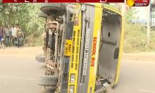 School bus overturns in Madhapur