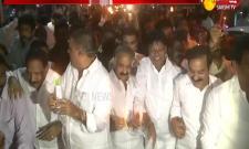 Avanthi Srinivas participates in candle rally in Visakhapatnam