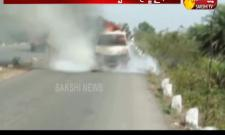 Mini Van Catches Fire in Paleru reservoir Bridge