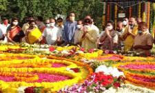 Nandamuri Balakrishna Pays Tribute To NTR on His Birth Anniversary At NTR Ghat - Sakshi