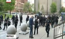 New York police shove man violently as curfew begins