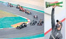 Hamilton takes record-breaking 92nd win with dominant drive in Portuguese GP - Sakshi