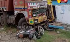 lorry and bike accident in vishaka