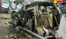 Two Cars Collide Opposite Direction Four Lost Life In Vikarabad