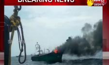 Nellore: Burning Boat Near Krishnapatnam