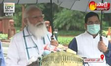 Prime minister narendra modi arrives in parliament