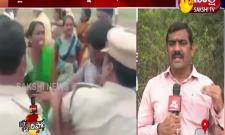 Nagar Kurnool:  tribal woman pours petrol on forest Officers