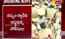 Hyderabad: Contract Staff Nurses Protest At Gandhi Bhavan