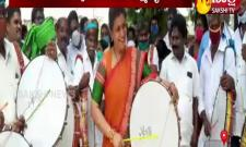 Nagari Mla Rk Roja Beaten Drum In Putturu Municipality Office