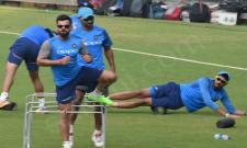 Indias cricket players practice in Mumbai