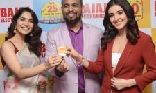 Movie stars Malavika Sharma, Ruhani Sharma and Simrat Kaur made a splash at the Bajaj Electronics Electronics Festival in Panjagutta on Tuesday. - Sakshi