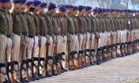 Railway police conducting rehearsals at the railway ground in Secunderabad on the occasion of Republic Day. - Sakshi