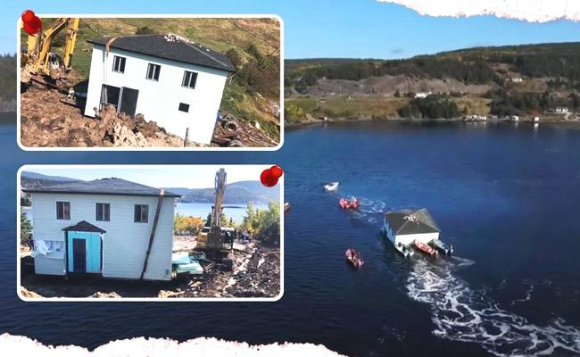 Viral Video Canada Couple Shiftted Their Dream House With The Help Of Two Boats - Sakshi