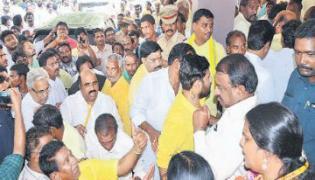 tdp members fires on pitani satya narayana