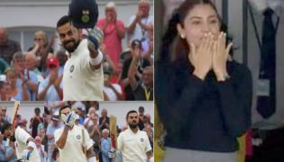 Virat Kohli flying kiss to His Wife Anushka Sharma For The Century - Sakshi