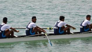 India clinch gold medal in the mens quadruple sculls team event - Sakshi