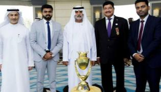 Unimoni Asia Cup Trophy unveiled in Abu Dhabi - Sakshi