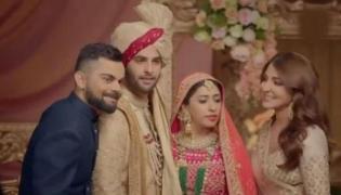 Anushka Sharma and Virat Kohli New Manyavar Ad after Marriage - Sakshi