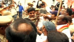 BJP Leaders Trying To Protest In Front Of Gandhi Bhavan - Sakshi